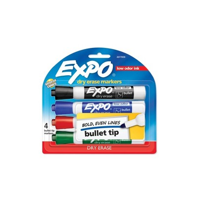 4pk Dry Erase Marker Bullet Tip Multicolor - Expo