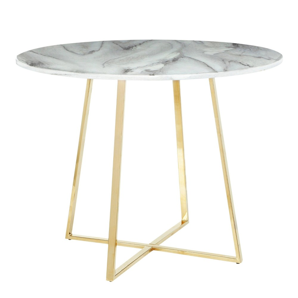 Cosmo Contemporary/Glam Dining Table Marble Gold/White - Lumisource