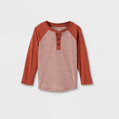 Toddler Boys' Striped Henley Long Sleeve T-Shirt - Cat & Jack™ Orange 12M