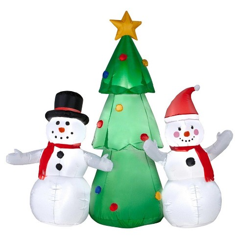 5' Snowman Family and Christmas Tree Inflatable - image 1 of 1