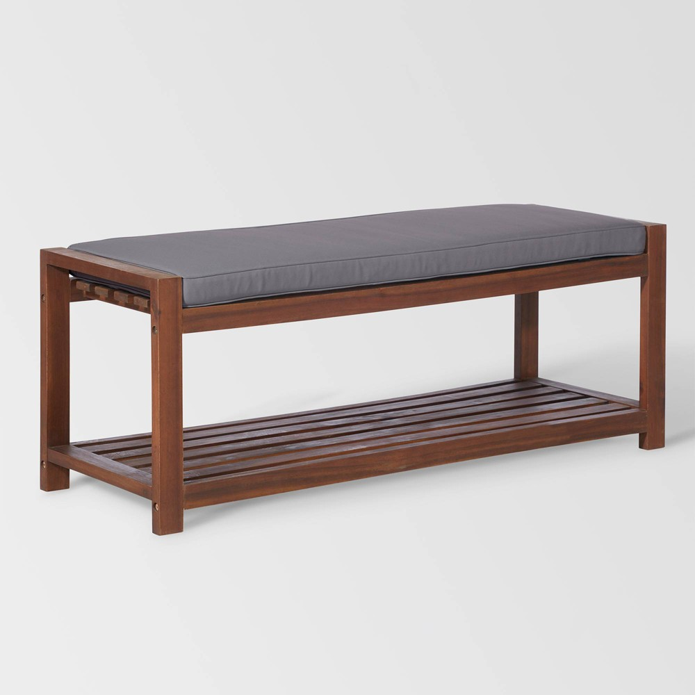 48 Patio Wood Bench with Cushion - Dark Brown/Gray - Saracina Home