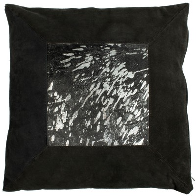 "Sonoma Metallic Cowhide Pillow - Black/Silver - 20"" X 20""  - Safavieh"