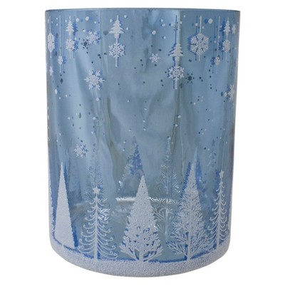 Northlight 6.25-Inch Shiny Blue and Silver Winter Forest and Snowflake Flameless Candle Holder