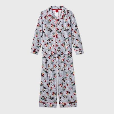 Boys' Peanuts Holiday 2pc Coat Pajama Set - Gray