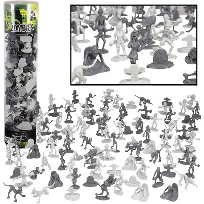 Hingfat Zombie Army Action Figure Toy Bucket, 100 Pieces