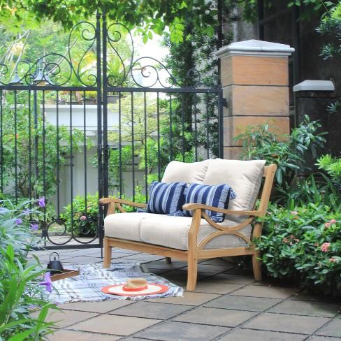 Abbington Teak Patio Loveseat with Cushion Beige - Cambridge Csual - image 1 of 2