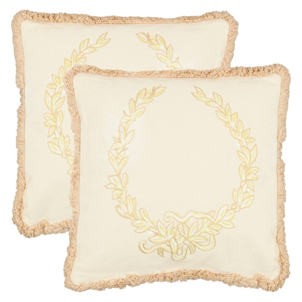 Cream Crest Throw Pillow 2pk (18x18) - Safavieh Price