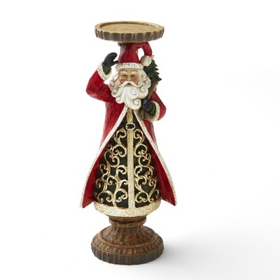 Lakeside Ceramic Holiday Santa Candle Holder with Wood Carved Looking Details