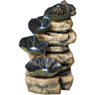 "John Timberland Rustic Outdoor Floor Water Fountain with Light LED 21"" High Cascading Lily Pads for Yard Garden Patio Deck Home"