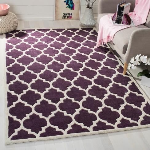 8 9 X8 9 Tufted Quatrefoil Design Square Area Rug Purple Safavieh