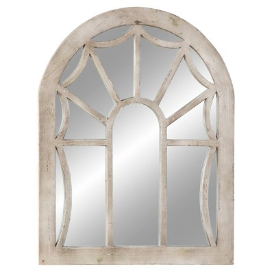 "36"" x 44"" Wood Cathedral Wall Mirror Distressed Beige - Olivia & May"