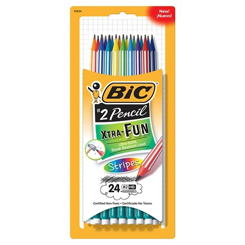 BIC® #2 Pencils with Stripes Xtra Fun, Break Resistant Lead, 24ct - Multicolor - image 1 of 6
