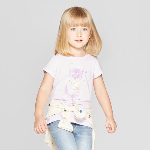 2368ca4e Toddler Girls' Short Sleeve 'Cat' Graphic T-Shirt - Cat & Jack™ Light  Purple 12M : Target