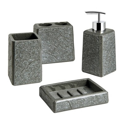 4pc Fauxstone Lotion Pump/Toothbrush Holder/Tumbler/Soap Dish Set Natural - Allure Home Creations