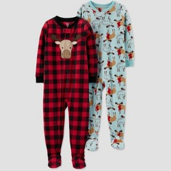 Toddler Boys' 2pk Buffalo Check Moose Fleece Footed Pajama - Just One You® made by carter's Red/Teal