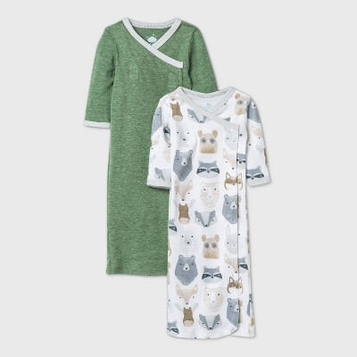 Baby Boys' 2pk Little Cub Nightgown - Cloud Island™ Olive Preemie