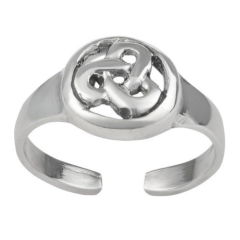 Women's Journee Collection Sterling Silver Celtic Circle Knot Adjustable Toe Ring - Silver - image 1 of 2