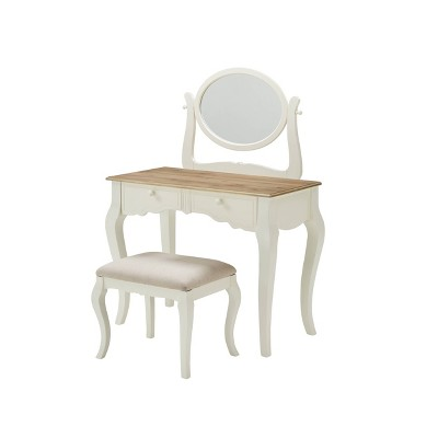 Emberly Vanity Set White/Natural - Linon