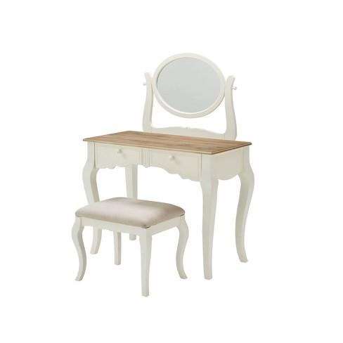 Emberly Vanity Set White/Natural - Linon - image 1 of 4