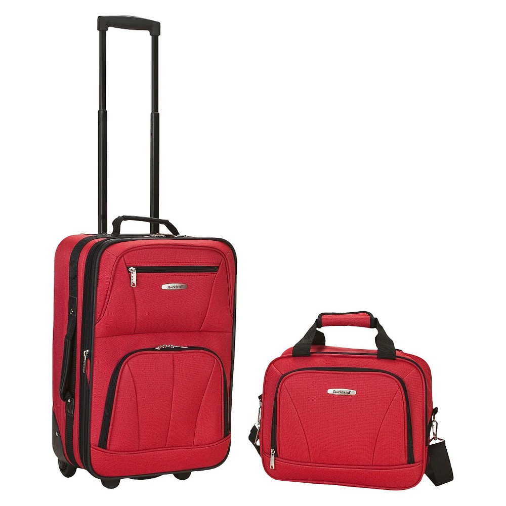 Rockland Rio 2pc Carry On Luggage Set Red