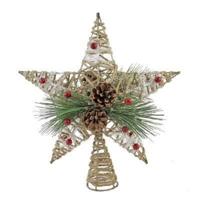 """Tree Topper Finial 11.25"""" Natural Jute Star Christmas Tree Topper Pine Cone  -  Tree Toppers"""