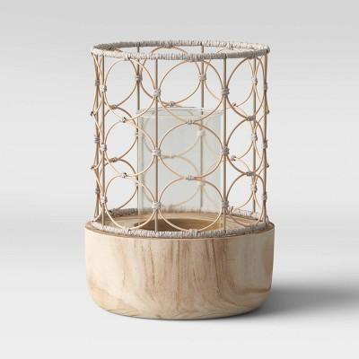 "14"" Outdoor Lantern Wood & Woven - Opalhouse™"