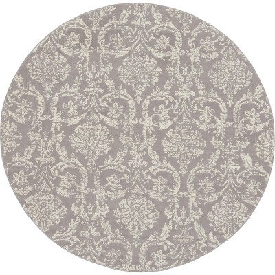 8' Round Loomed Damask Area Rug Gray - Nourison