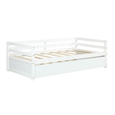 Costway Twin Size Trundle Daybed Wooden Slat Support Mattress Platform for Kids EspressoWhite