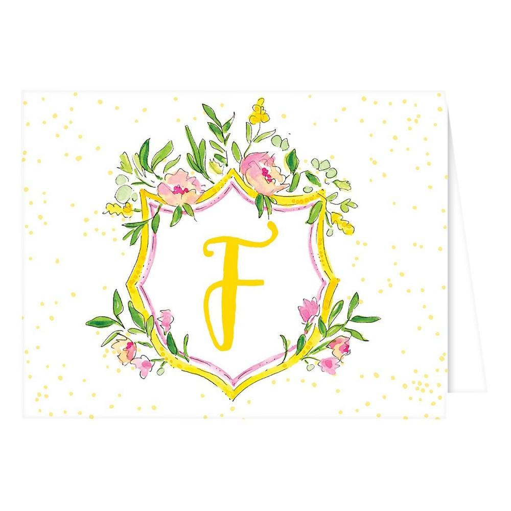 Folded Notes - Vintage Floral Crest Monogram - F, Multicolored