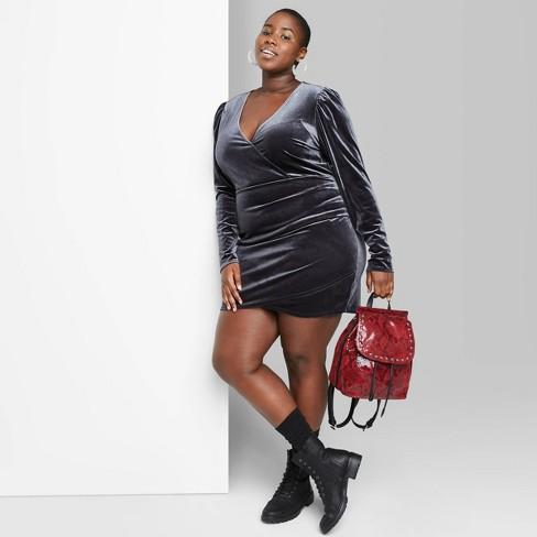 Women's Plus Size Long Sleeve V-Neck Wrap Velvet Mini Dress - Wild Fable™ Hematite Gray - image 1 of 3
