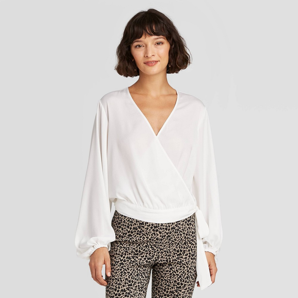 Women's Balloon Long Sleeve Wrap Top - A New Day White M was $24.99 now $17.49 (30.0% off)