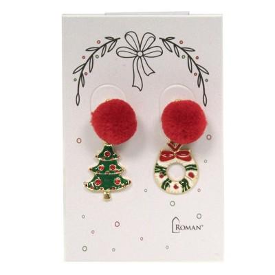 """Jewelry 1.5"""" Pom Pom Christmas Earring Post Snowman Tree Wreath Santa  -  Costume Jewelry"""