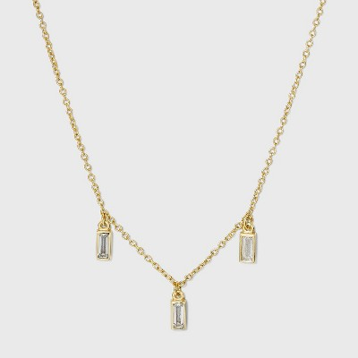 Gold Plated Cubic Zirconia Baguette Drops Chain Necklace - A New Day™ Gold