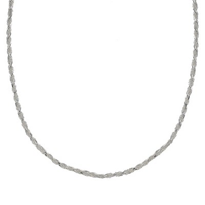 "Sterling Silver Rope Chain Necklace - Silver (18"")"