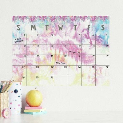 Tie Dye Dry Erase Calendar Peel and Stick Giant Wall Decal - RoomMates