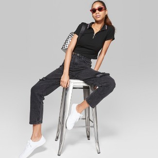 Women's High-Rise Destructed Mom Jeans - Wild Fable™ Black Wash 16