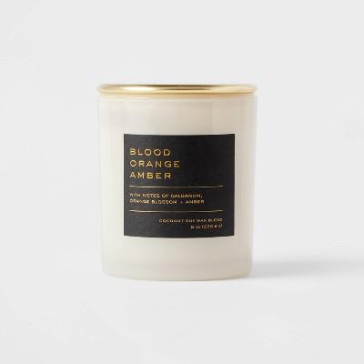 8oz Lidded Glass Jar Black Label Blood Orange Amber Candle - Threshold™