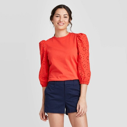 Women's Long Sleeve Eyelet T-Shirt - A New Day™ - image 1 of 3