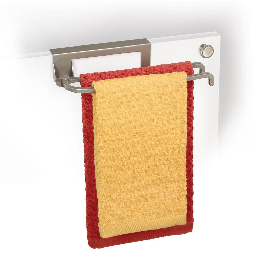 Image of Lynk Over Cabinet Door Pivoting Towel Bar - Satin Nickel