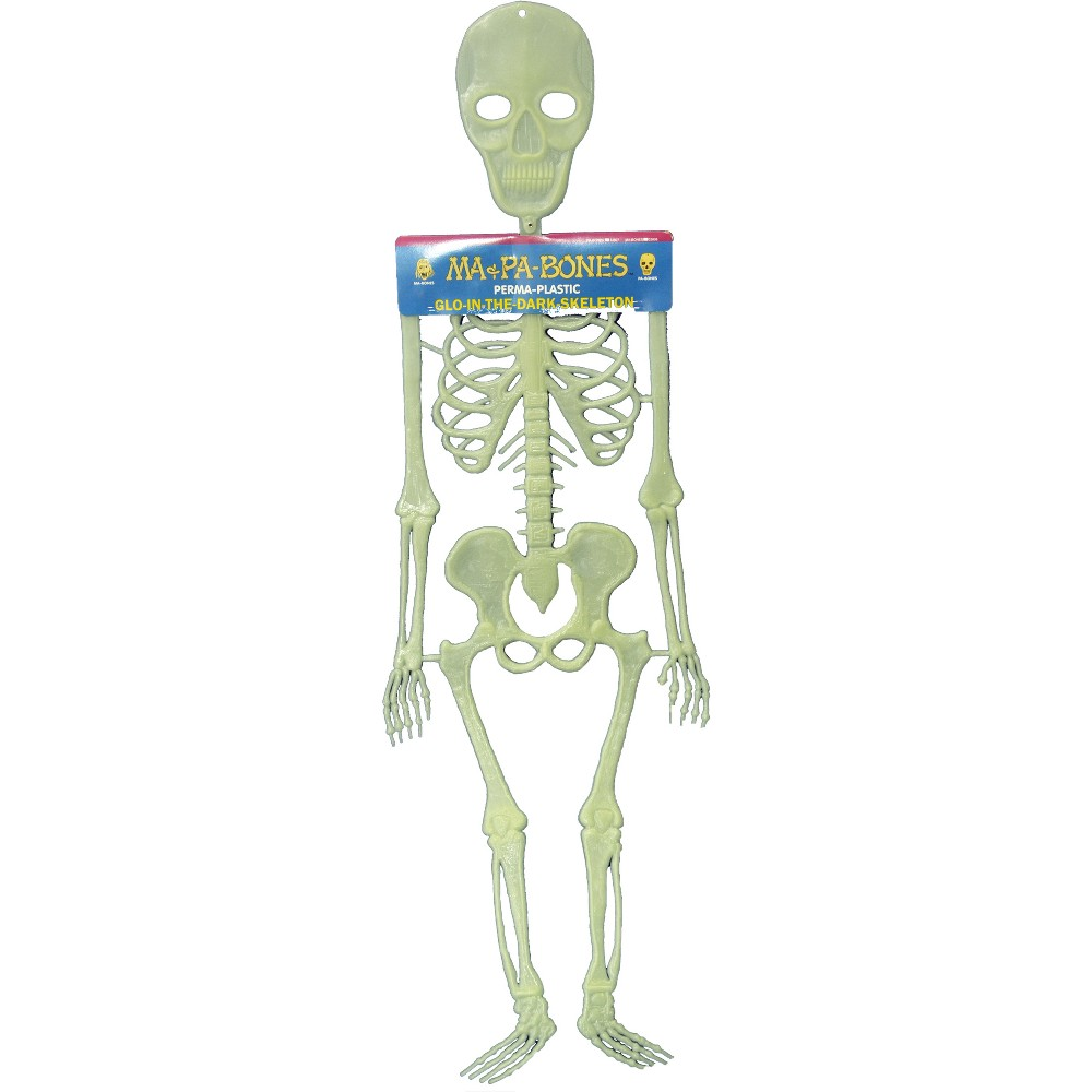 "Image of ""20"""" Halloween Pa Bones Glow In The Dark Skeleton, Clear"""