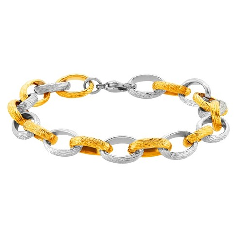 "Women's ELYA Textured Cable Chain Bracelet - Two Tone - Size (10mm) 9"" - image 1 of 2"