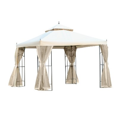 Outsunny 10' x 10' Steel Outdoor Patio Gazebo Canopy with Removable Mesh Curtains, Display Shelves, & Steel Frame