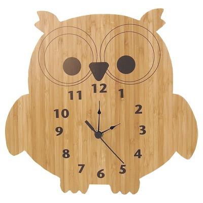 Owl Wall Clock Bamboo Finish - Trend Lab