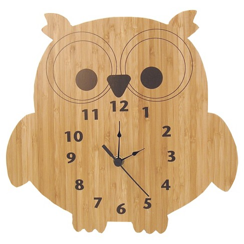 Owl Wall Clock Bamboo Finish - Trend Lab - image 1 of 3