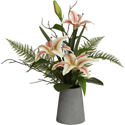 """Dahlia Studios Pink Lily and Fern 22 1/2"""" High Faux Flowers in Vase"""