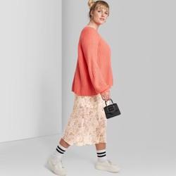 Women's Plus Size Floral Print Chiffon Midi Skirt - Wild Fable™ Ivory