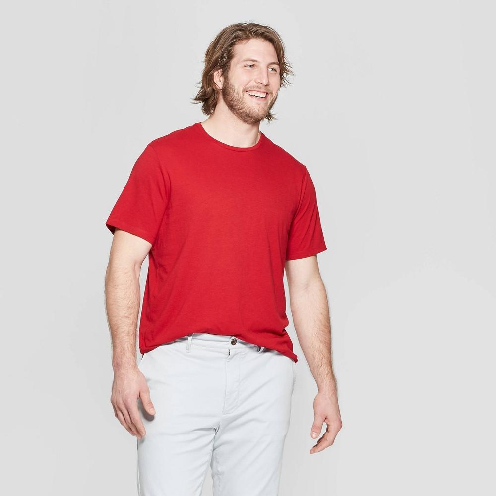 Men's Big & Tall Standard Fit Short Sleeve Lyndale Crew T-Shirt - Goodfellow & Co Red Velvet 5XBT