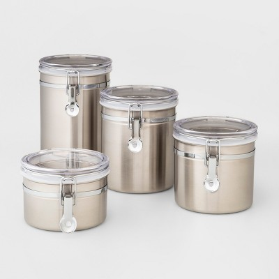 4pc Stainless Steel Food Storage Canister - Threshold™