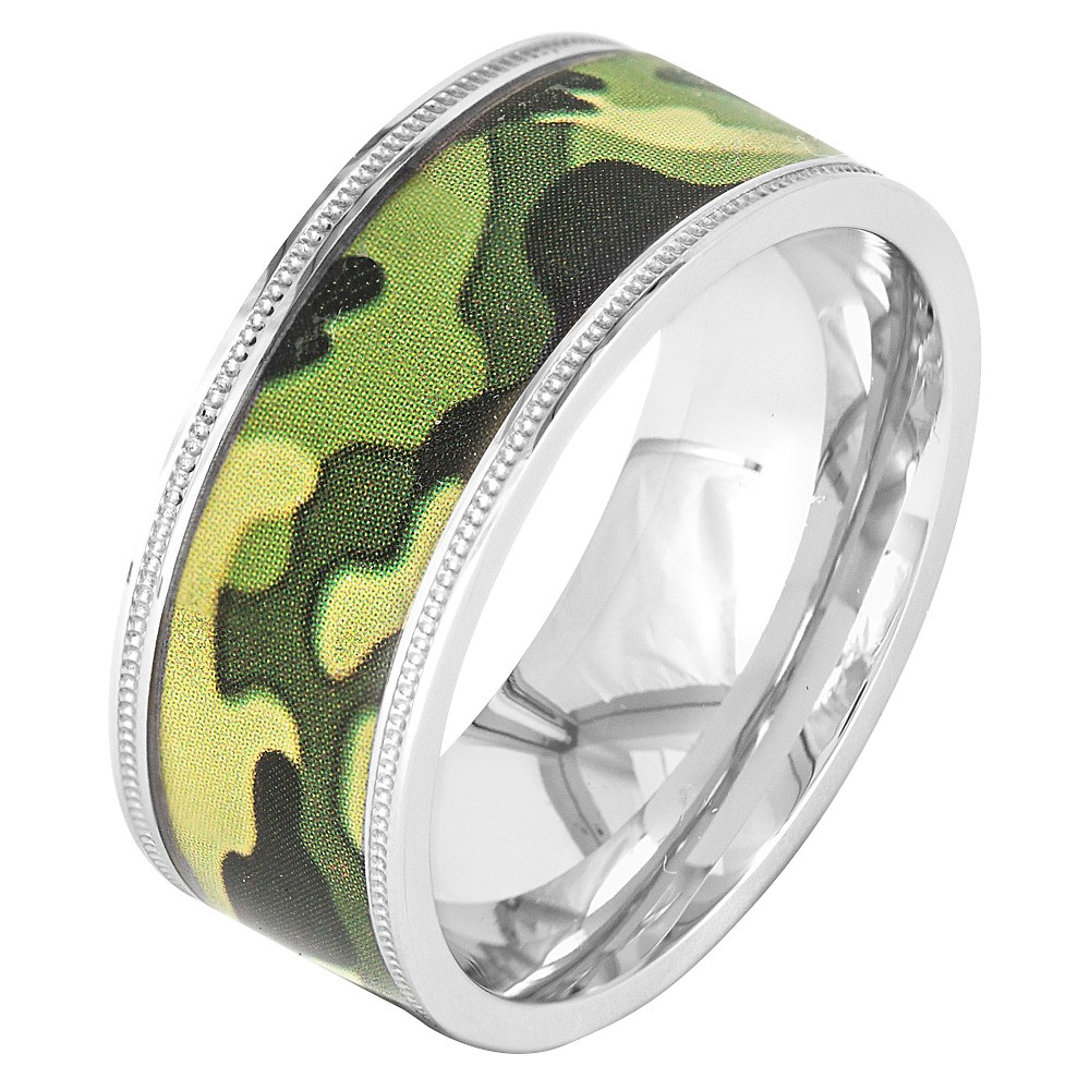 Men's Crucible Stainless Steel Camouflage Ring - Green (12), Camoflage/Silver