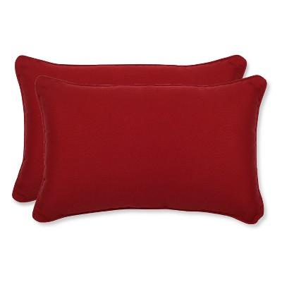 """2-Piece Outdoor Lumbar Pillow Set - Red 18"""""""